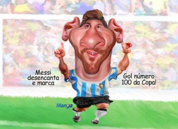 Manga: Adios, Argentina com charge animada de Messi