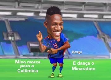 Manga: Colômbia eliminada e Mina dança na charge animada